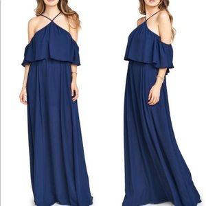 Show me your mumu Rebecca ruffle navy dress